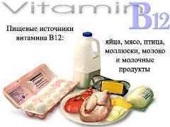 Продукты с большим содержанием витамина В12 кобаламина.